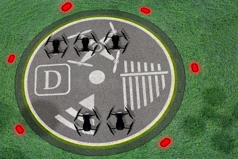寄生虫登岸地点 寄生虫的口岸的概念操作UAV的或斑点或者书桌 与标记的混凝土无人空中车的 免版税库存图片