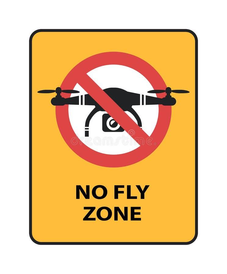 寄生虫禁飞区标志 与quadcopter的黄色禁止标志隔绝了传染媒介象 库存例证