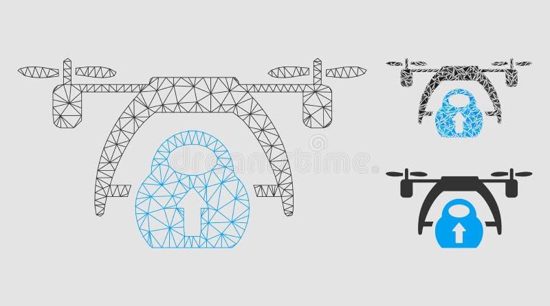 寄生虫装载的传染媒介滤网接线框模型和三角马赛克象 皇族释放例证