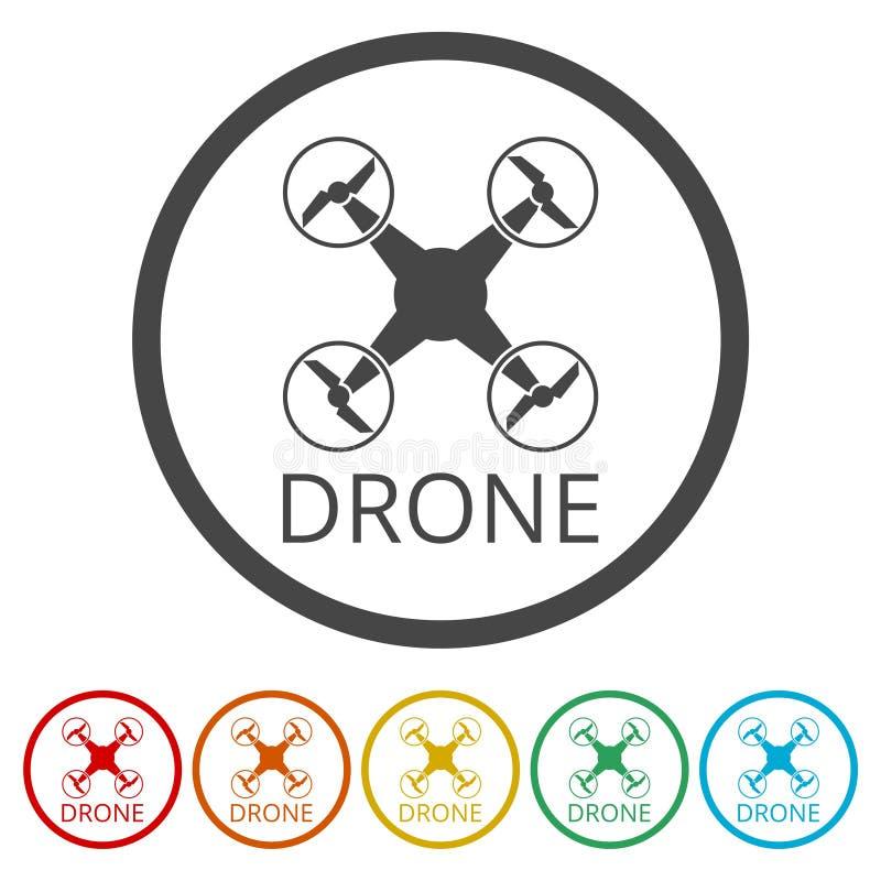 寄生虫象,剪影quadrocopter一个顶视图象,包括的6种颜色 向量例证