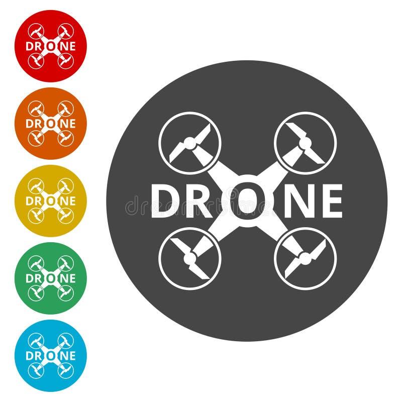 寄生虫象,剪影quadrocopter一个顶视图象 皇族释放例证