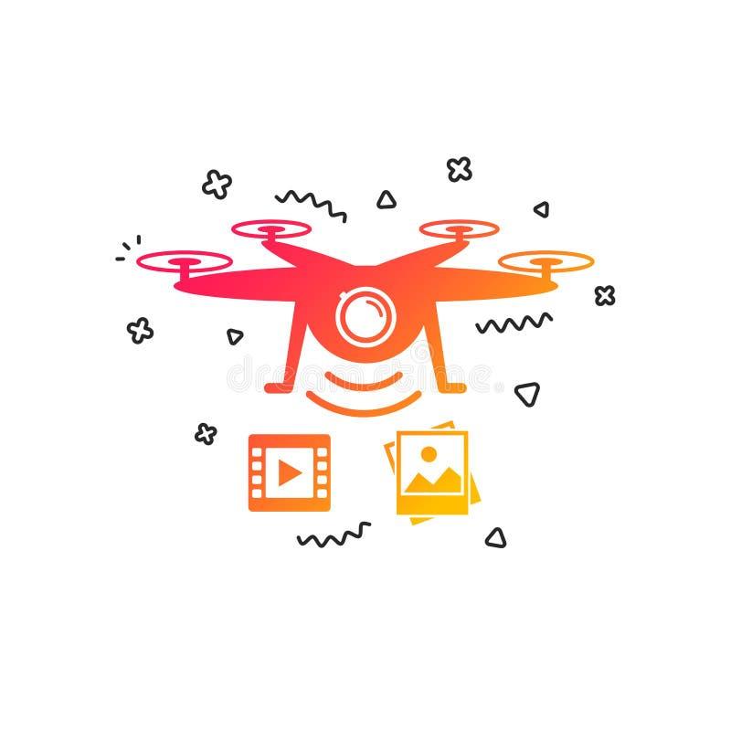 寄生虫象 与摄象机的Quadrocopter 向量 皇族释放例证