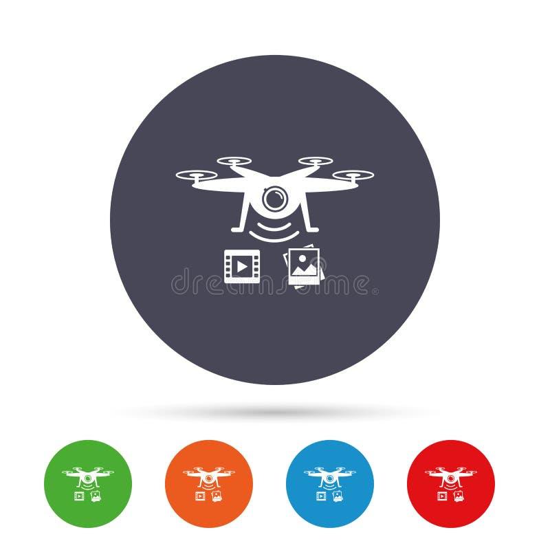 寄生虫象 与摄象机的Quadrocopter 库存例证