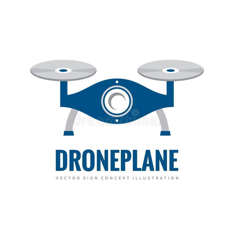 寄生虫飞机-导航商标模板概念例证 Quadcopter创造性的标志 直升机图表象标志 设计要素例证图象向量 皇族释放例证