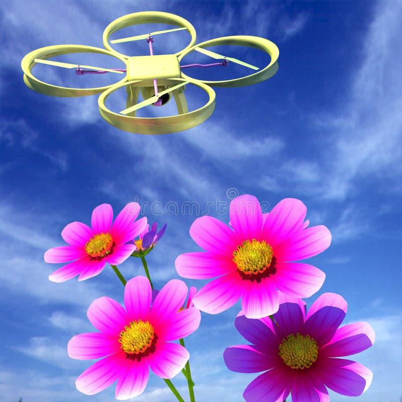 寄生虫,quadrocopter,与反对天空和好漂亮的东西或人的照片照相机 皇族释放例证