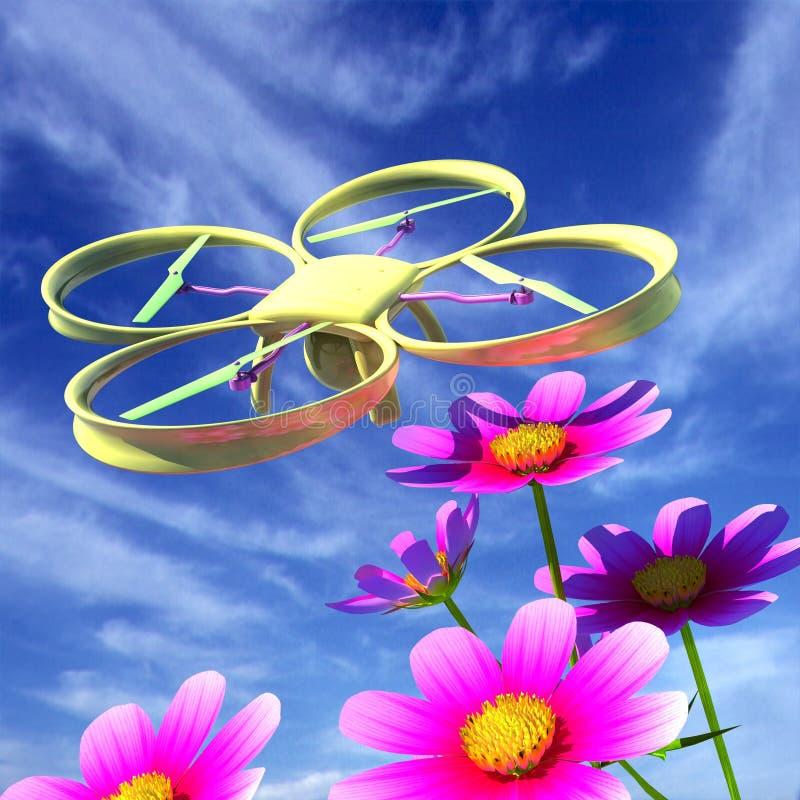 寄生虫,quadrocopter,与反对天空和好漂亮的东西或人的照片照相机 向量例证