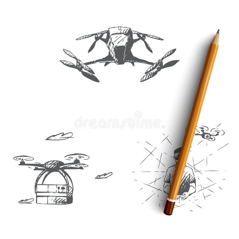 寄生虫-设备和引伸,遥控在vr,现代飞行运输传染媒介概念集合 向量例证
