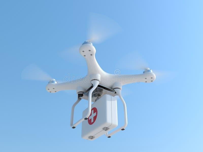 寄生虫quadcopter运载的急救工具 皇族释放例证