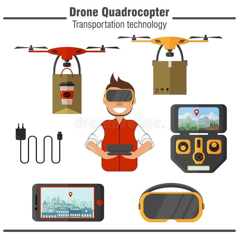 寄生虫Quadrocopter运输技术 套简单的平的象 库存例证