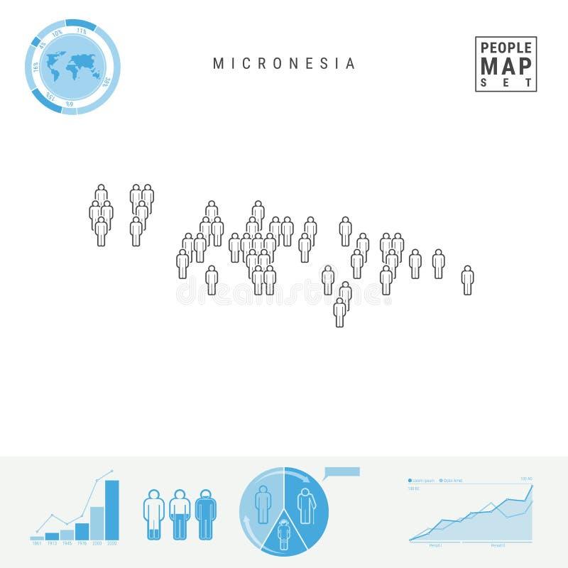 密克罗尼西亚人象地图 密克罗尼西亚的风格化传染媒介剪影 人口增长和老化Infographics 向量例证