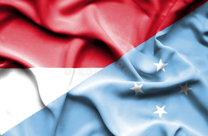 密克罗尼西亚和印度尼西亚的挥动的旗子 库存例证
