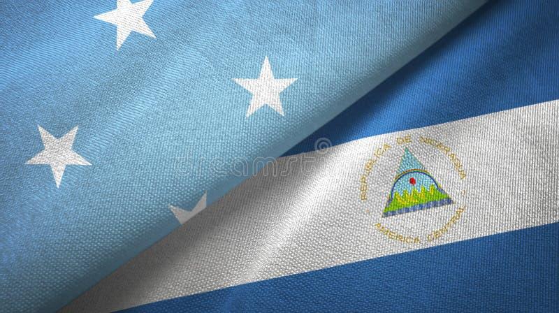 密克罗尼西亚和尼加拉瓜两旗子纺织品布料,织品纹理 库存例证