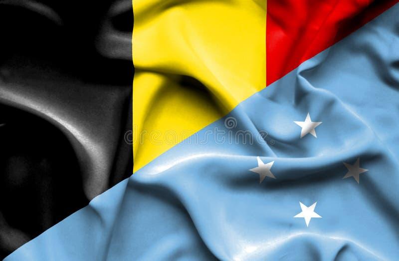 密克罗尼西亚和比利时的挥动的旗子 库存例证