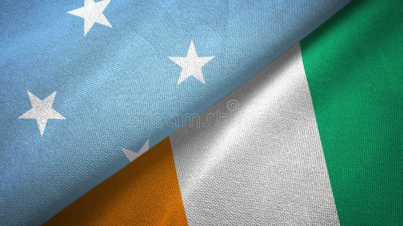 密克罗尼西亚和科特迪瓦象牙海岸两旗子织物纹理 库存例证