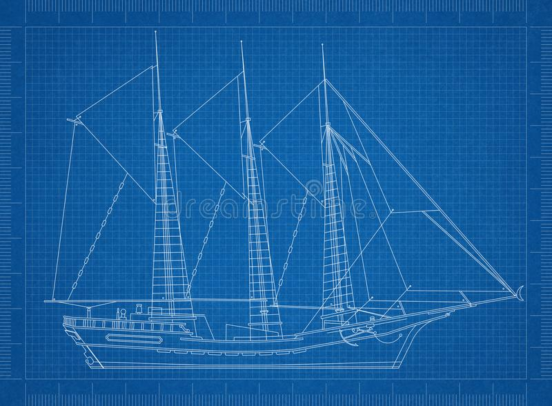 密封的船图纸 皇族释放例证