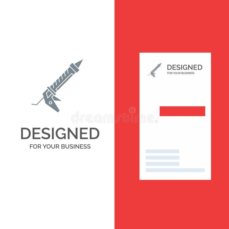 密封胶、枪、修理、建筑、器物灰色商标设计和名片模板 库存例证