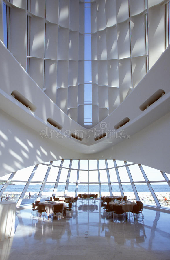 密尔沃基美术馆的内部密歇根湖的,密尔沃基, WI 免版税库存图片