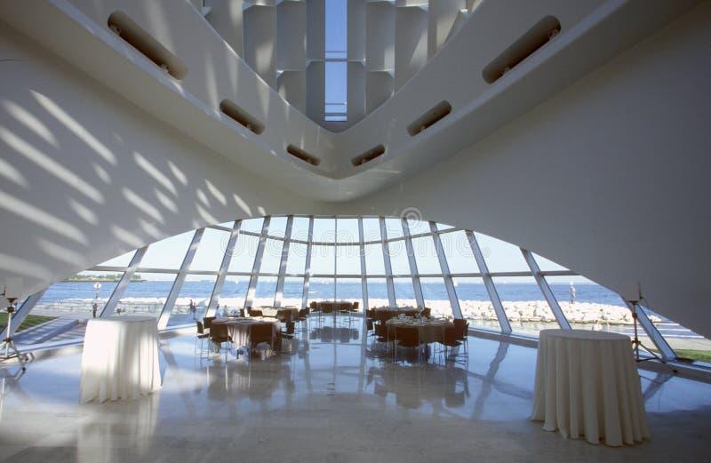 密尔沃基美术馆的内部密歇根湖的,密尔沃基, WI 免版税库存照片
