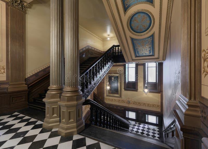 密执安国会大厦豪华楼梯 免版税库存照片