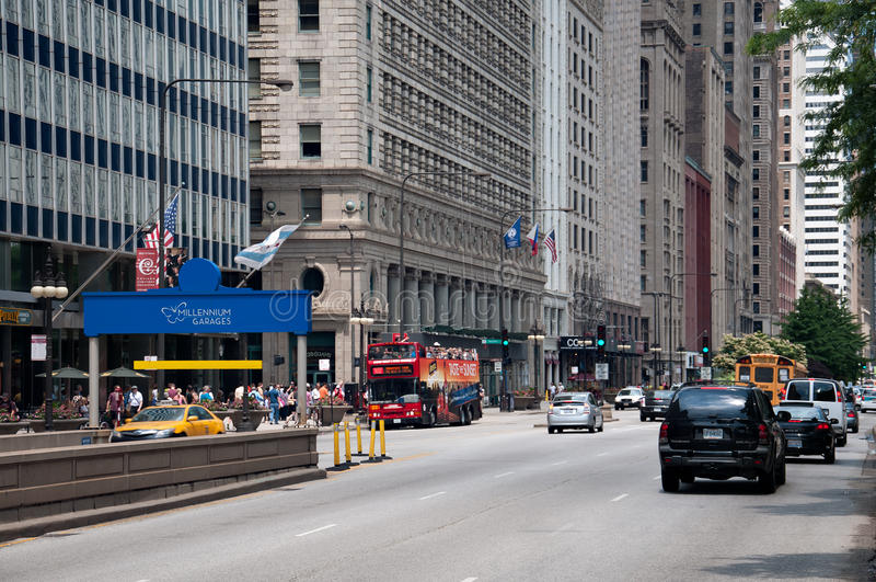 密执安大道在芝加哥,美国 图库摄影