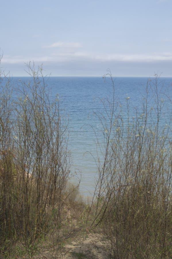 密执安湖俯视 免版税库存照片