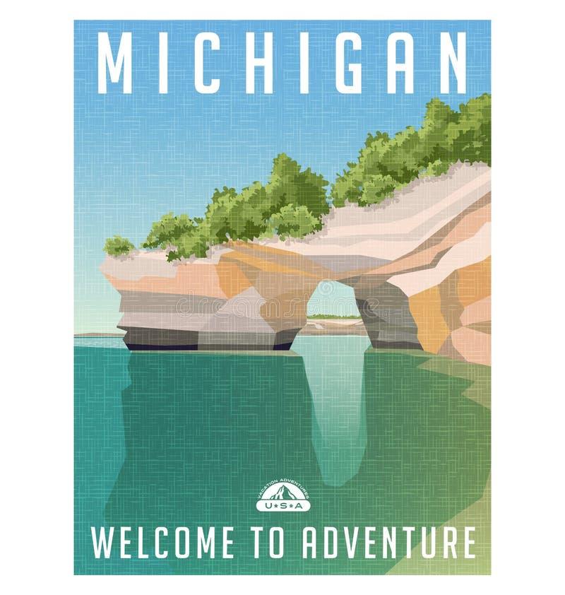 密执安砂岩峭壁旅行海报在苏必利尔湖海岸线的 库存例证