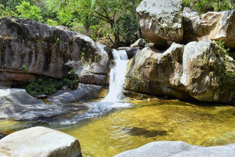 密林从农村小村庄路的河和瀑布视图向El伊甸园电影是fil的巴亚尔塔港墨西哥 库存图片