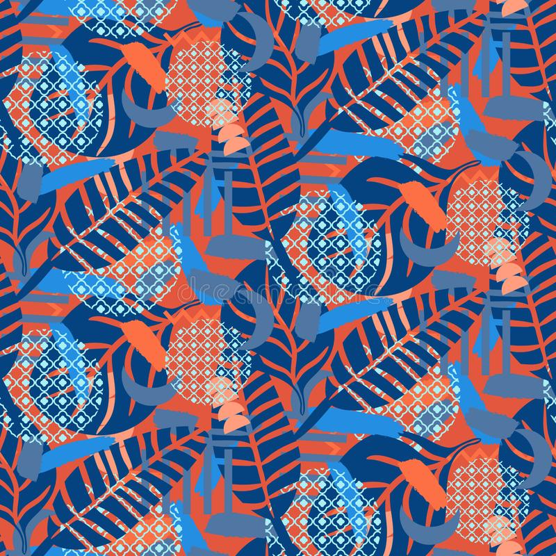 密林样式 红色和蓝色抽象织地不很细传染媒介背景 皇族释放例证