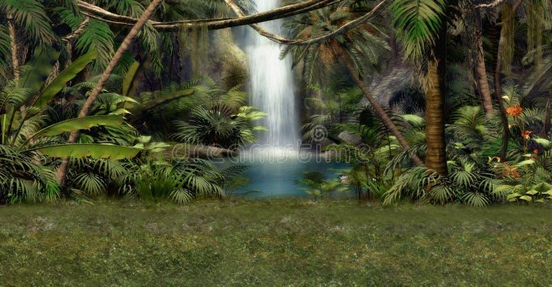 密林瀑布 向量例证