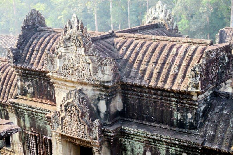 密林的柬埔寨吴哥窟视图 库存照片