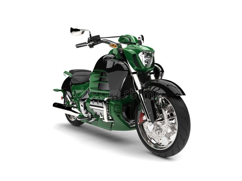 密林绿色现代强有力的摩托车 库存例证