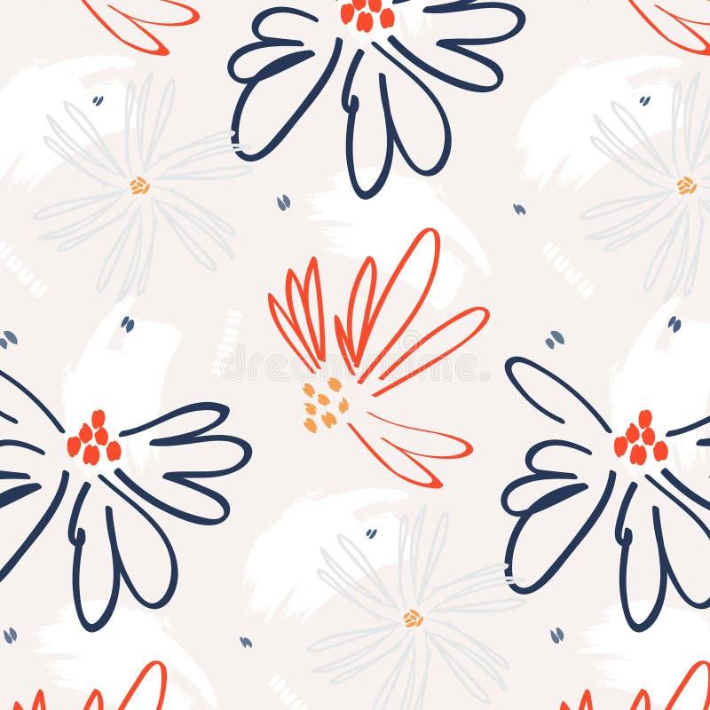 密林艺术 植物的花帆布样式 最佳的当代墙纸 附庸风雅行家装饰 重复花卉海岛织品co 向量例证