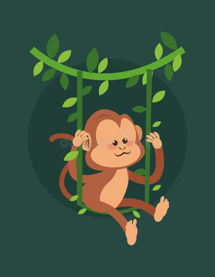 密林猴子动画片 皇族释放例证