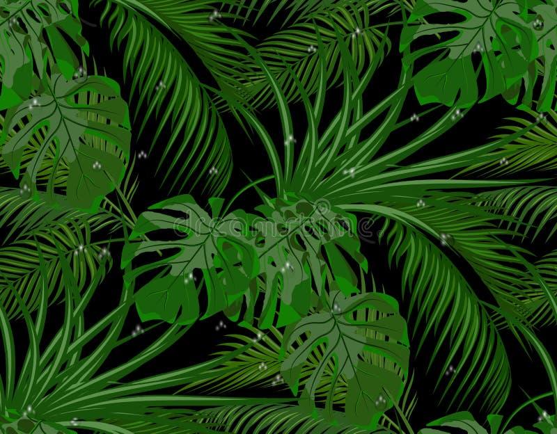 密林 热带棕榈树, monstera,龙舌兰绿色叶子  露水,雨下落  无缝 在黑色背景 库存例证