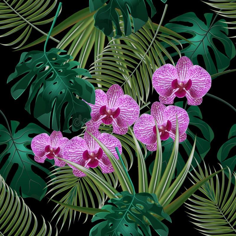 密林 绿色热带叶子、兰花花和棕榈叶 无缝花卉的模式 在黑色背景 库存例证