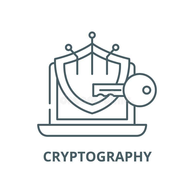 密码学传染媒介线象,线性概念,概述标志,标志 向量例证
