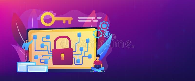 密码学和加密概念横幅倒栽跳水 向量例证