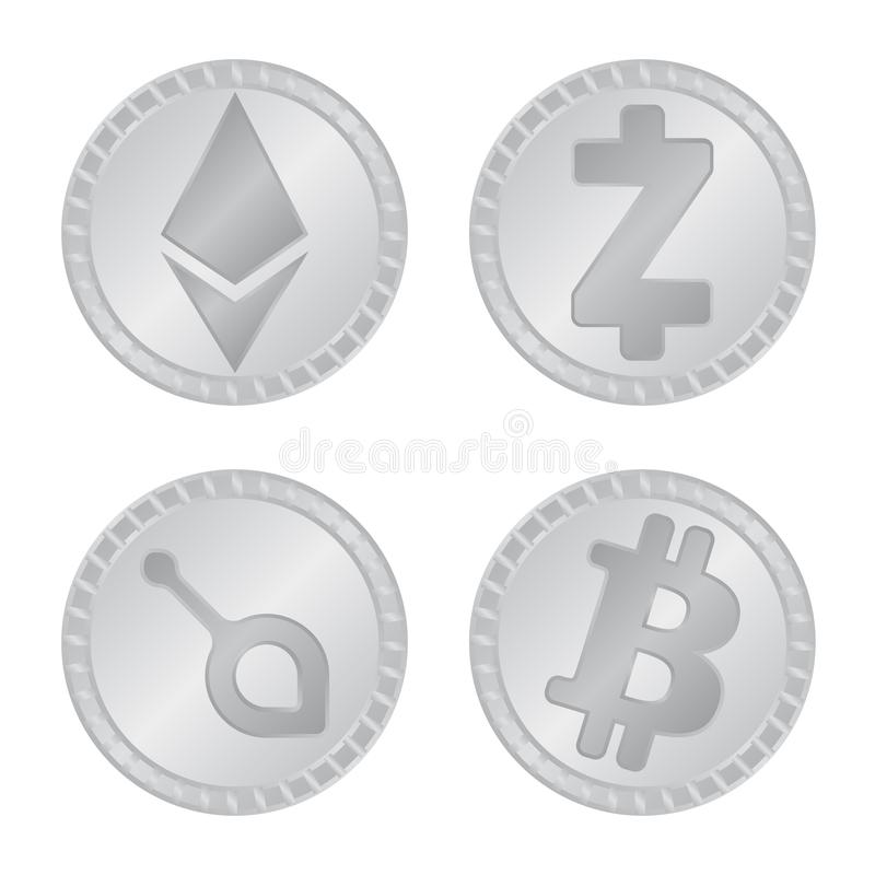 密码学和财务商标被隔绝的对象  设置密码学和电子商务传染媒介象股票的 库存例证