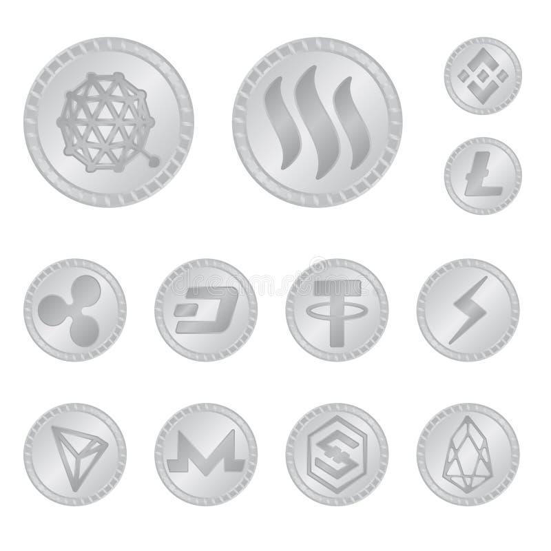 密码学和财务标志传染媒介设计  设置密码学和电子商务股票传染媒介例证 向量例证