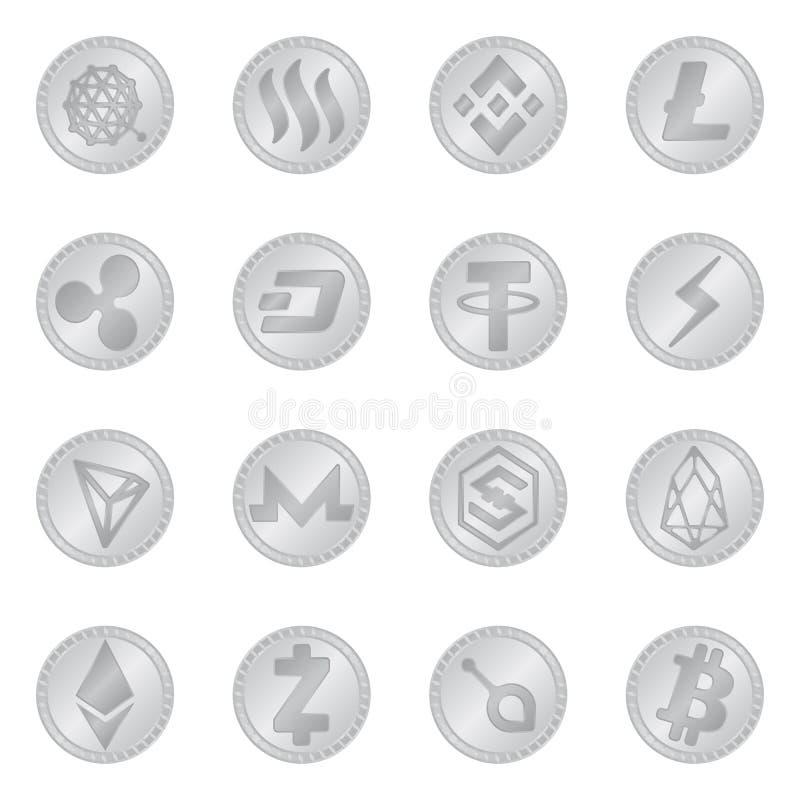 密码学和财务标志被隔绝的对象  密码学和电子商务股票传染媒介例证的汇集 向量例证