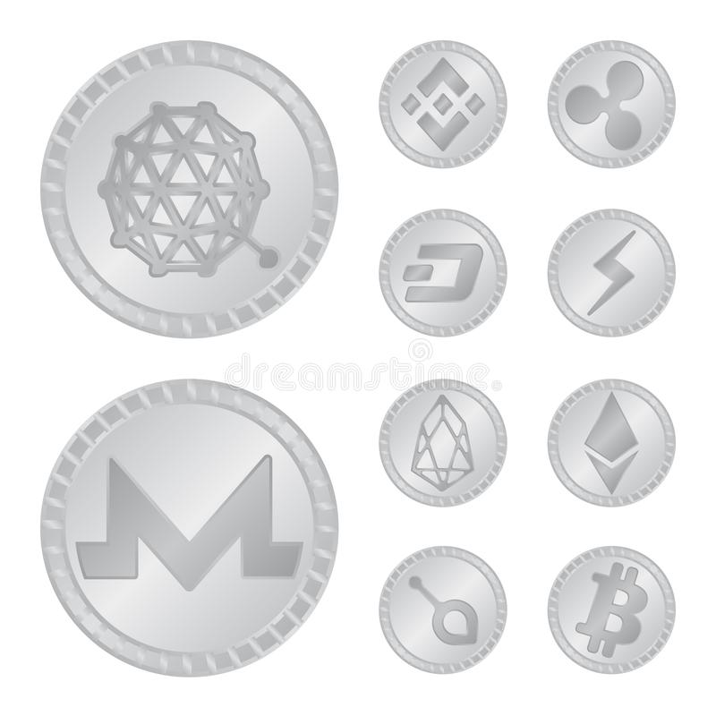 密码学和财务标志被隔绝的对象  设置密码学和电子商务传染媒介象股票的 库存例证