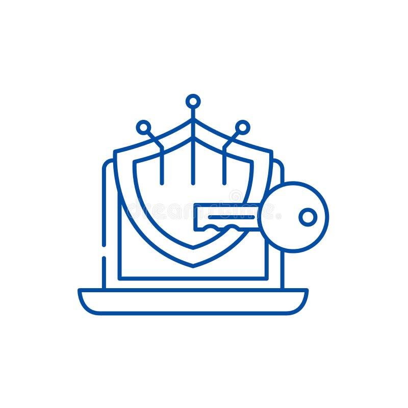 密码学线象概念 密码学平的传染媒介标志,标志,概述例证 皇族释放例证