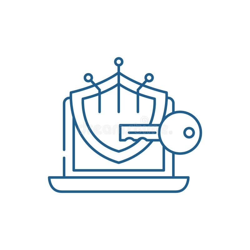 密码学线象概念 密码学平的传染媒介标志,标志,概述例证 库存例证