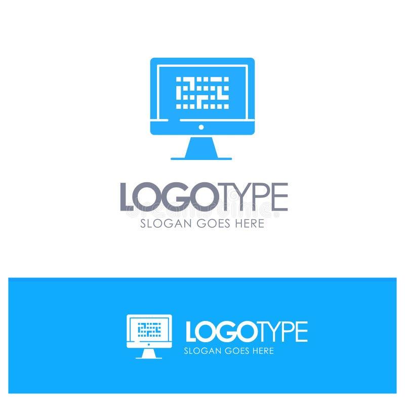 密码学,数据,Ddos,加密,信息,与地方的问题蓝色坚实商标口号的 向量例证