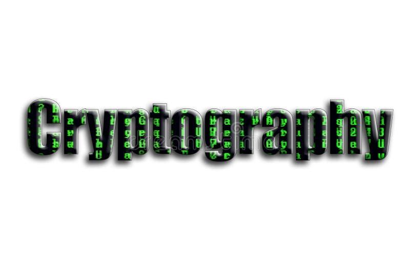 密码学 题字有摄影的纹理,描述绿色小故障标志 免版税库存照片