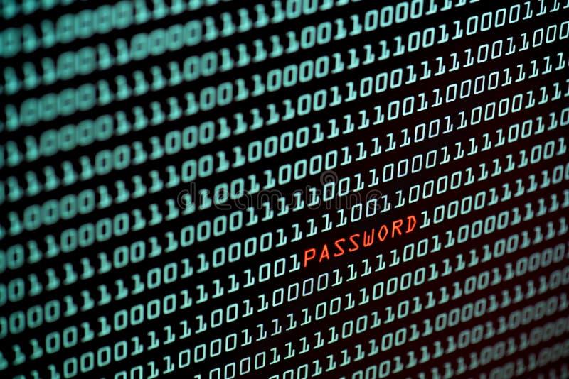 密码文本和二进制编码概念从桌面屏幕,选择聚焦 库存图片
