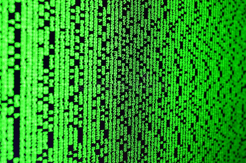 密码选择宏指令在办公计算机的显示器的 乱砍一位个人数据老板的保护的概念 免版税库存照片