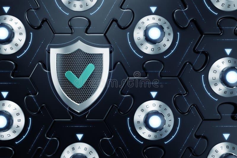 密码Blockchain Cybersecurity  向量例证