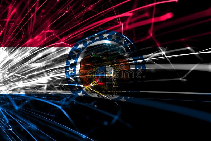 密苏里抽象烟花闪耀的旗子 新年、圣诞节和国庆节概念 美国状态团结了 皇族释放例证