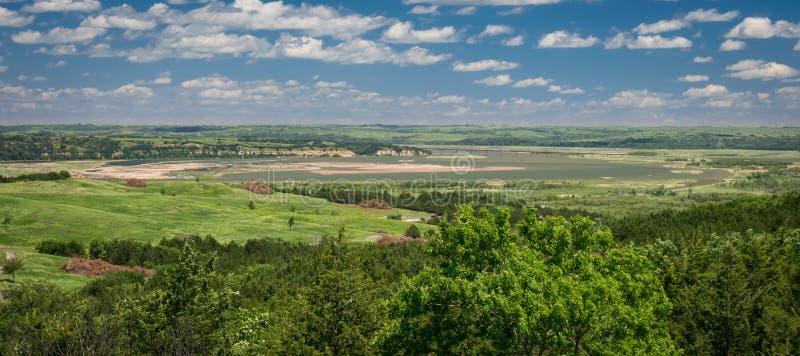 密苏里河的全景从Niobrara国家公园,内布拉斯加的 免版税库存照片